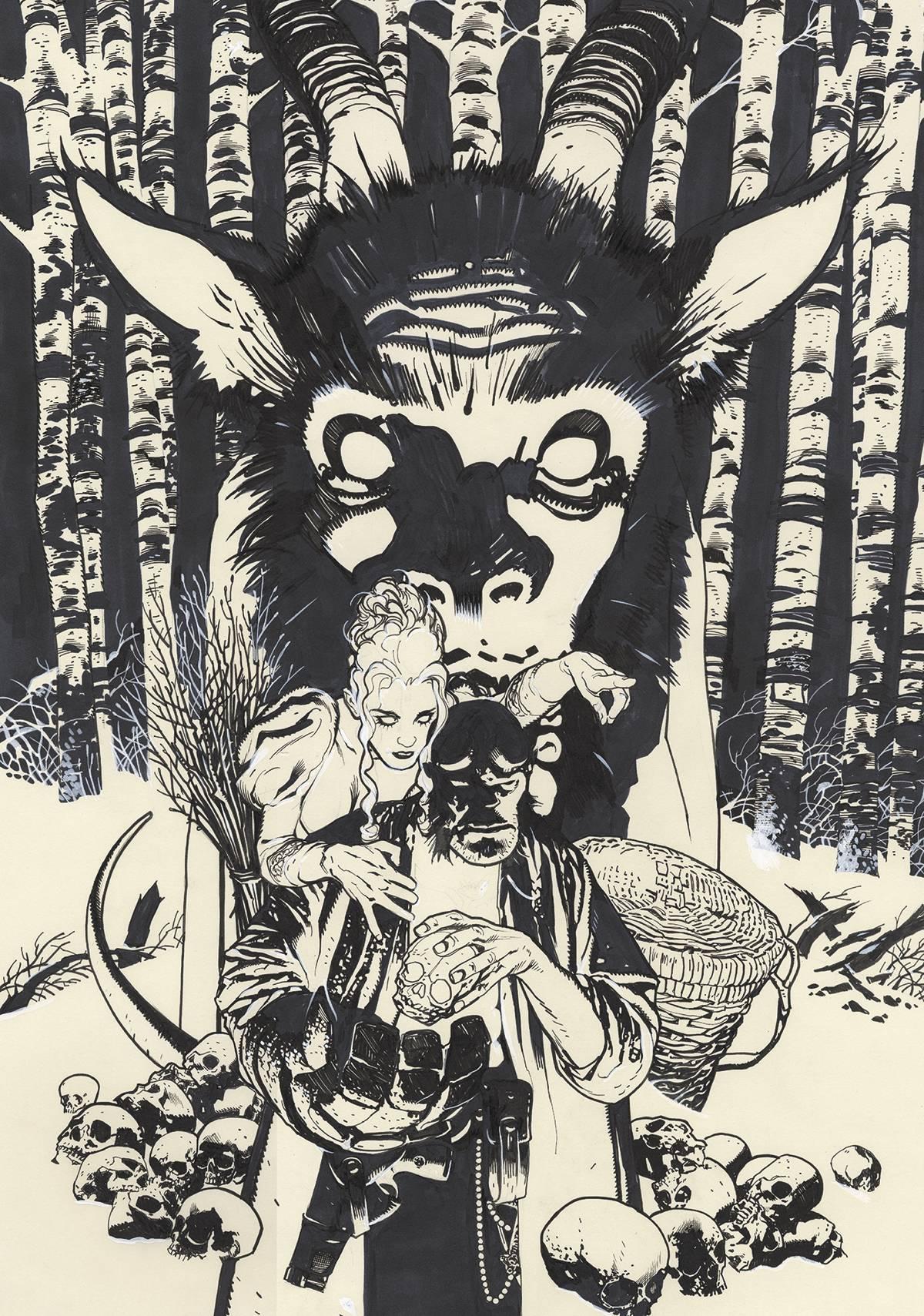 HELLBOY KRAMPUSNACHT #1 ADAM HUGHES SKETCH COVER